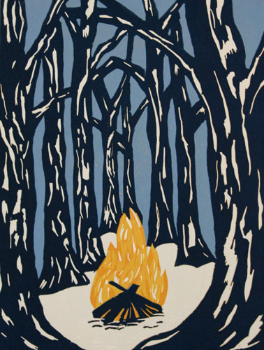 Shannon Thacker  Campfire Stories , 2012 color reduction relief 9 x 12 inches