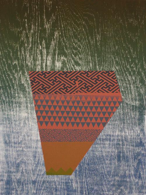 Dustyn Bork  Shard no.1 , 2011 Woodcut and silkscreen 24 x 18 inches