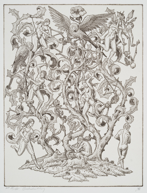 Stephen Burt  Bushwhacking , 2011 Etching 15.5 x 11.75 inches