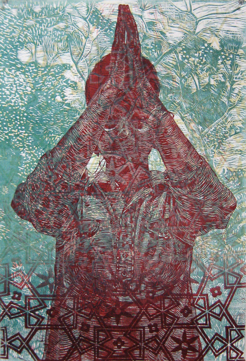Melissa Gill  Namaste Namaskar 1 , 2011 3 block woodcut 15 x 22 inches