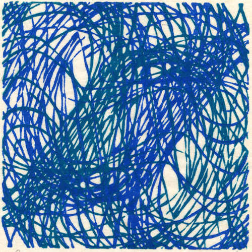 (Elka) Elzbieta Kazmierczak  Green & Blue,  2010 2-color linocut on rice paper 4.75 x 4.75 inches