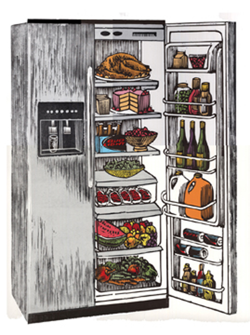 Anthony Lazorko  Let's eat , 2011 Woodcut and digital print 14.625 x 19.25 inches