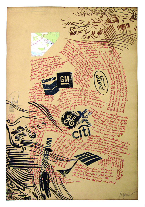 Dirk Hagner  This Was Your Land , 2009 Relief etching and letterpress 18 x 12 inches