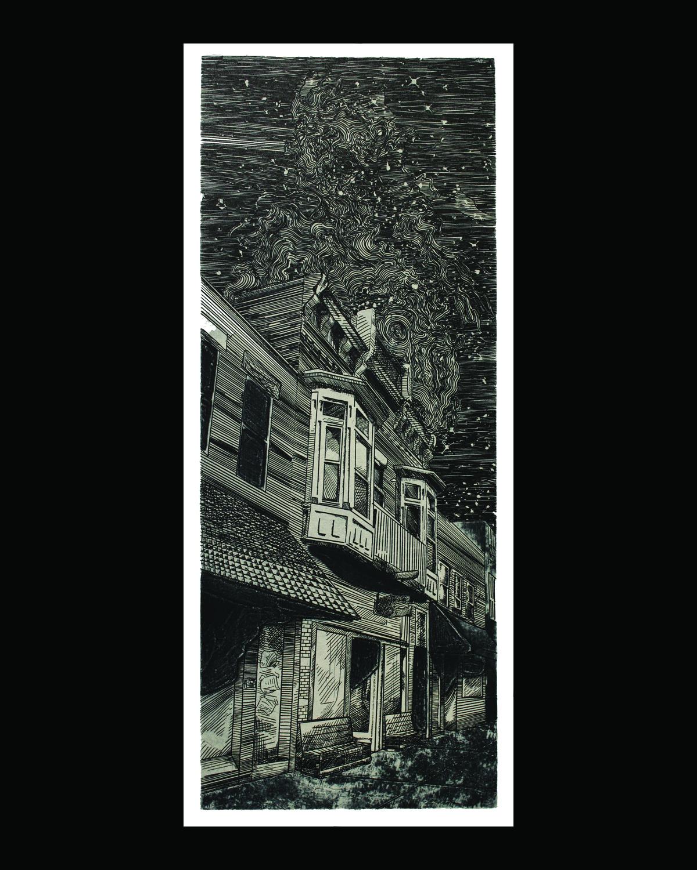 Matthew Presutti  Athens , 2010 Collagraph and silkscreen 9.5 x 24 inches