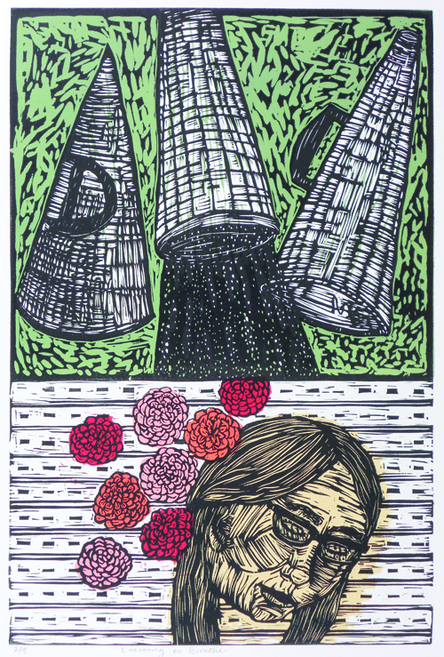 Stephanie Smith  Learning to Breathe , 2010 Linoleum cut 18 x 12 inches