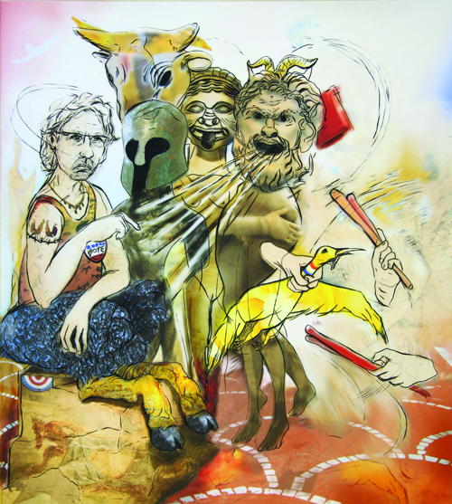 Philip Laber  Candidate Mocking , 2008 Engraving and inkjet 10 x 9 inches
