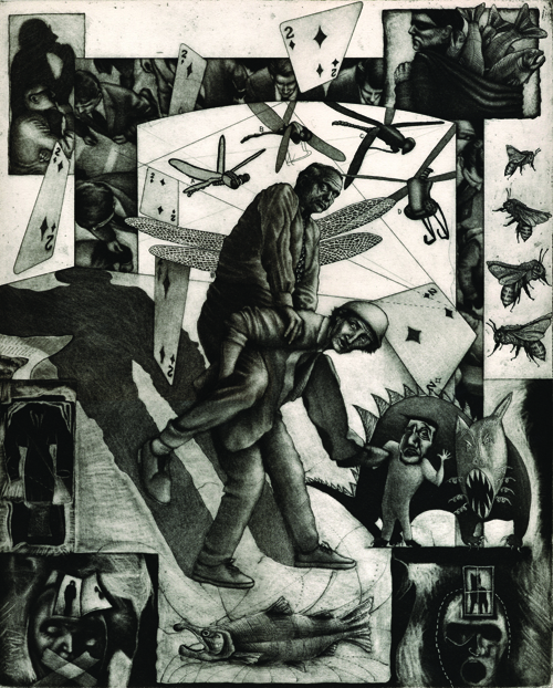 Robert Conrad Detamore  Deuce-Social Hierarchy , 2007 Etching with aquatint 16 x 20 inches