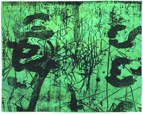 Nicholas Hill  Broken Reed Calligraphy (turquoise) , 2009 Paper lithograph and encaustic 7 x 8 inches