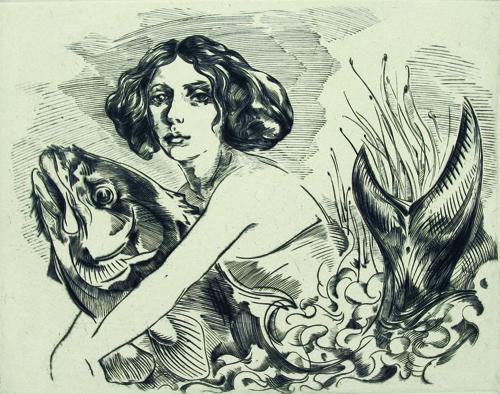 Richie Lasansky  Fish Girl , 2009 Engraving 8 x 10 inches