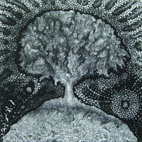 Richard Sloat  Tree of Life S XV , 1972-2009 Aquatint etching 17 x 17 inches