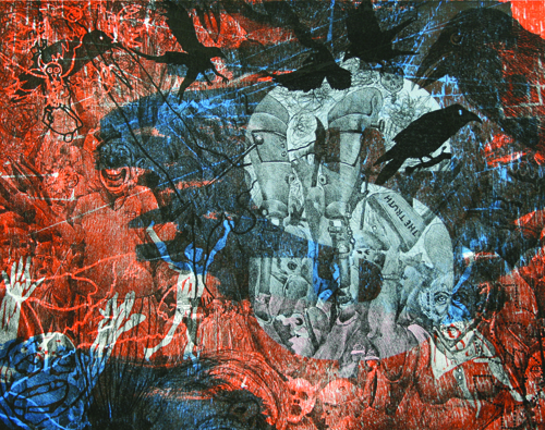 Ralph L. Steeds  At What Cost , 2009 Lithograph and relief 11 x 14 inches