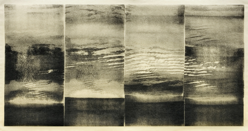 Lisa Grossman  Cloud Shift – Evening , 2007 relief roll on silk tissue, on mulberry  8 ¼ x 16 1/18 inches