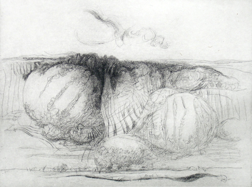 Gerald Marcus  Mesa Near Taos , 2006 etching   9 x 12 inches