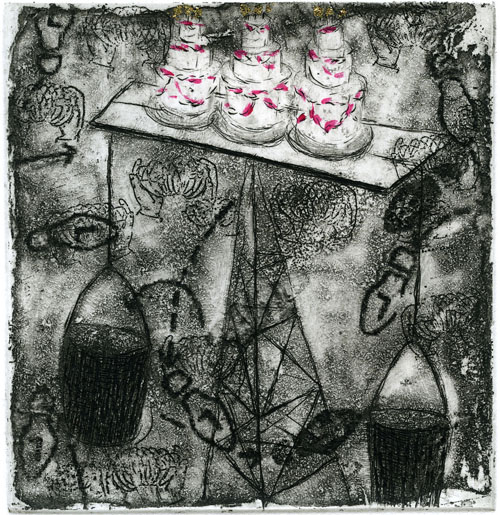 Tonia Matthews  You're Not Looking At Me , 2007 intaglio w h.c. 6 x 6 inches