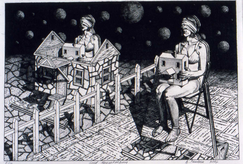 Brian Paulsen  Good Housekeeping , 2006 drypoint engraving 8 ¾ x 13 1/8 inches