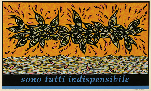 Endi Poskovic  They Spin Finely , 2007 color woodcut  22 x 30