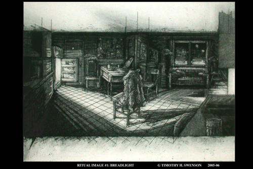 Timothy H. Swenson  Ritual Image #1: Breadlight , 2005-06 acrylic resist etching  12 x 16 inches