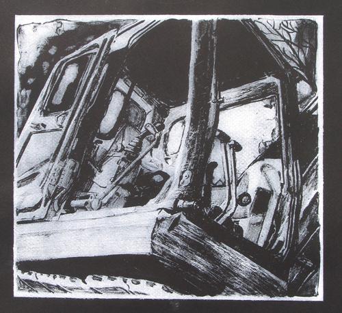 Amanda Wallis  Excavator Cab IV , 2006 lithograph 12.75 x 12.75 inches