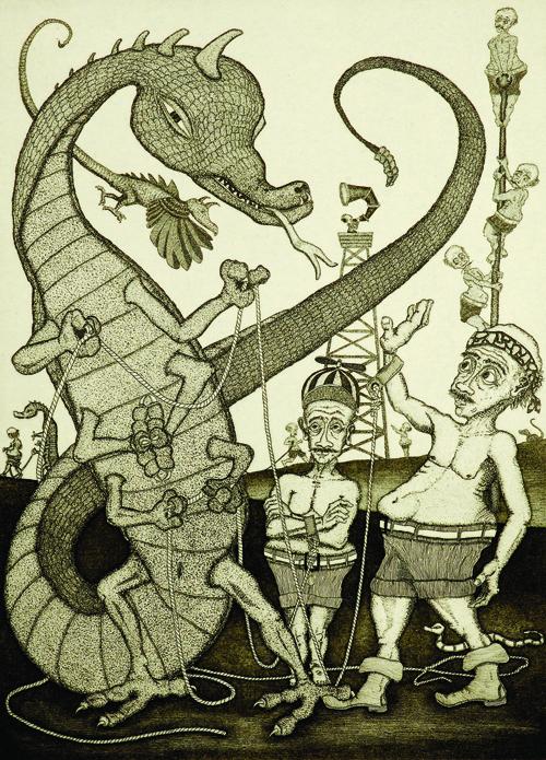 John D. Gall  Reptilos Supremos , 2004 Intaglio and chine collé