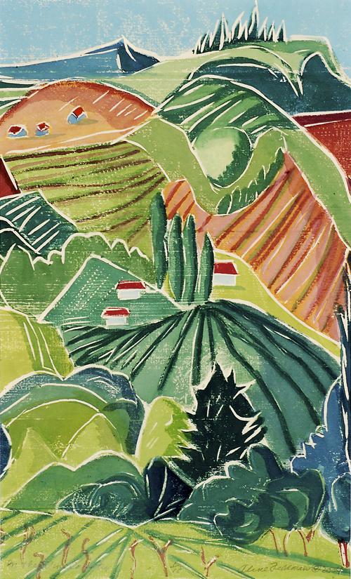 Aline Feldman  In the Wine Country  Woodcut