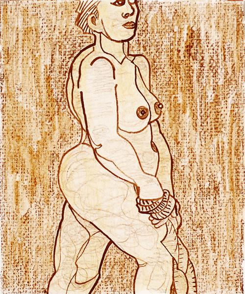James Mullen  Orange Nude  Color lithograph