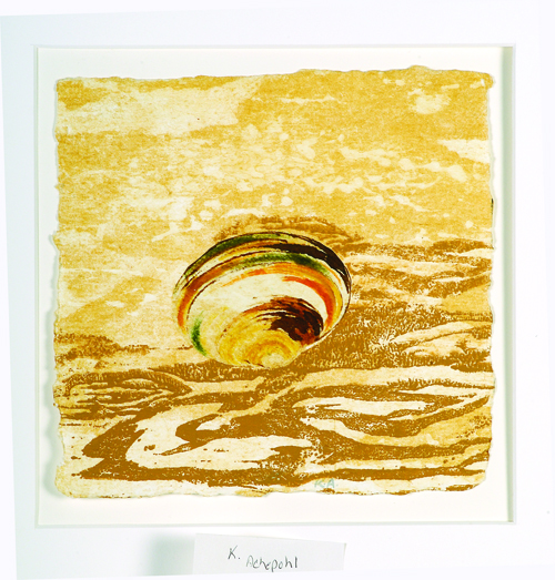 Keith Achepohl  Beach Seen 39  Intaglio, chine collé, ink drawing, offset woodcut