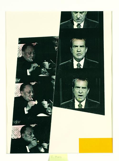 Frances Myers  Deng Smokes; Nixon Talks  Laser print, paint, collage