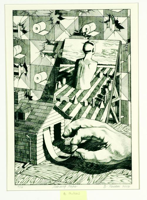 Brian Paulsen  Morning Paper  Drypoint, engraving