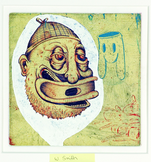William Smith  Caught in a Conversation bubble  Mixed media etching