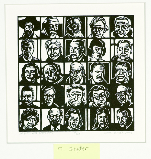Marc Snyder  24 Poets and 1 Astronaut  Linocut