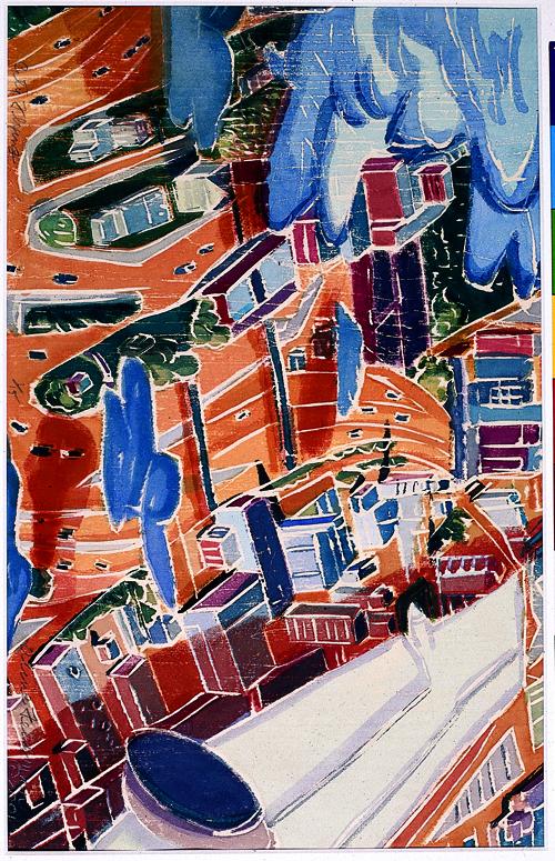 Aline Feldman  City Flying  White-line woodcut