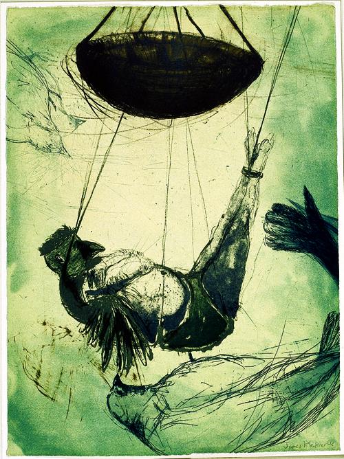 James Kleckner  Birdboy  Intaglio, lithograph