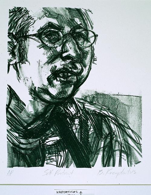 Brian Kreydatus  Self Portrait  Lithography