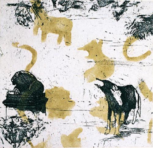 Lynne Allen  Dog Dreams  intaglio/chine collé