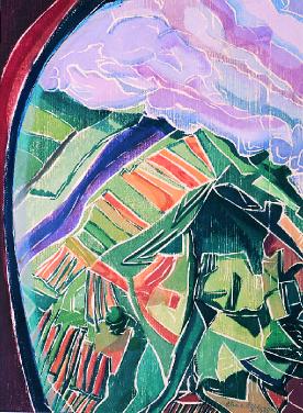 Aline Feldman  Flying  white line woodcut