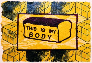 Alan Harmon  Yesu Wange  woodcut, photolithography on shellacked wallpaper