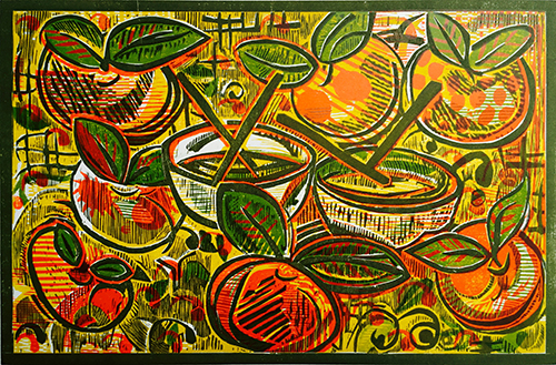Gloria Sanchez Hart   Tomatitos Chinos , 2014 woodcut 12 x 18 inches