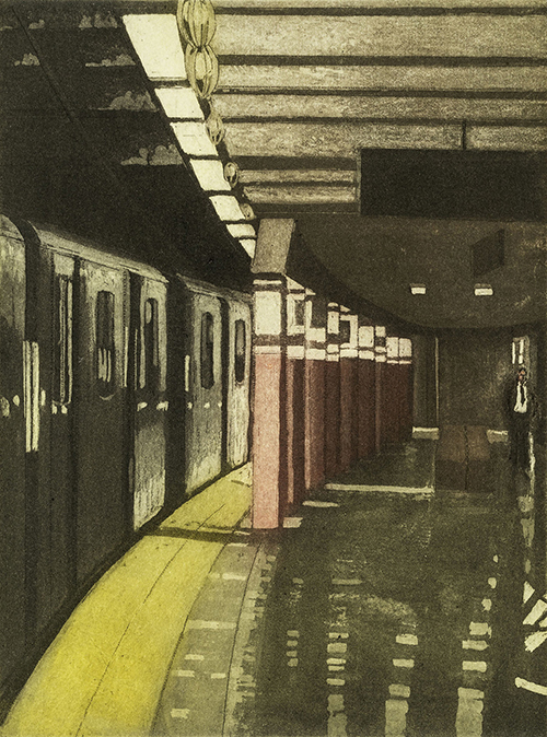 Linda Adato   Missing the Train , 2014 color etching, aquatint and soft ground 7.75 x 5.75 inches