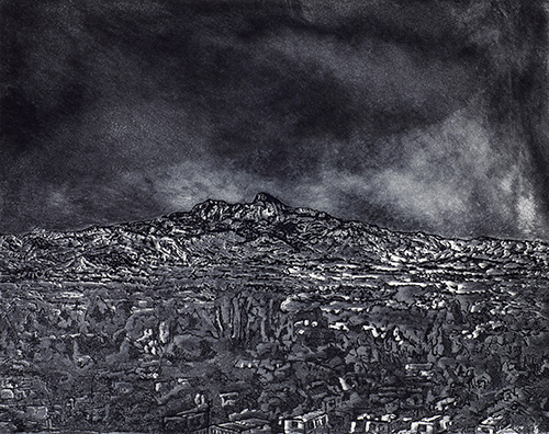 Milt Friedly   Heart Mountain , 2015 etching, line etch and aquatint 8 x 10 inches