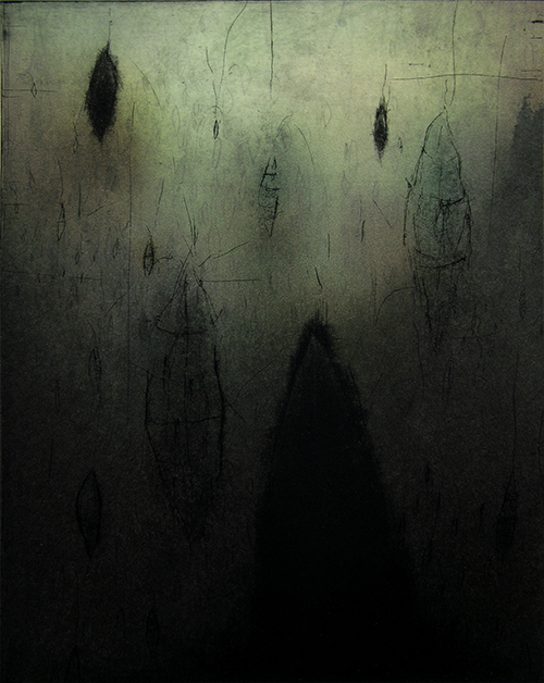 Kelsey Stephenson   Quiet Spirits , 2014 etching, mezzotint, digital and chine collé 9 x 6.5 inches