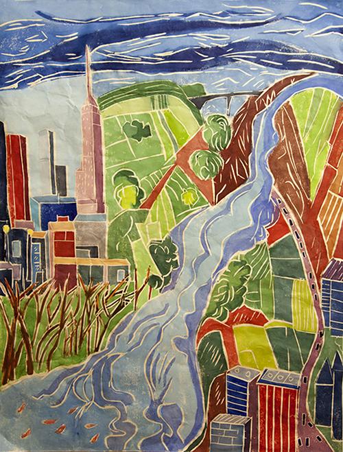 Aline Feldman   Paradox of Place XI , 2015 white line woodcut 30 x 22 inches