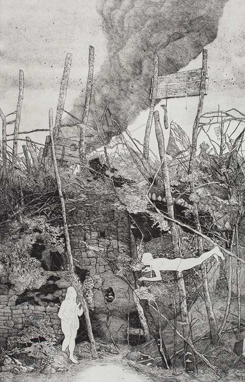 Joshua Johnson   Kamikaze , 2014 etching with engraving 24 x 16 inches