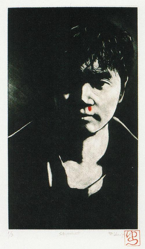 Yu Kanazawa  Self Portrait  mezzotint