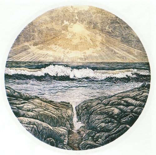 V.L. Maclean  Sea and Rocks  intaglio