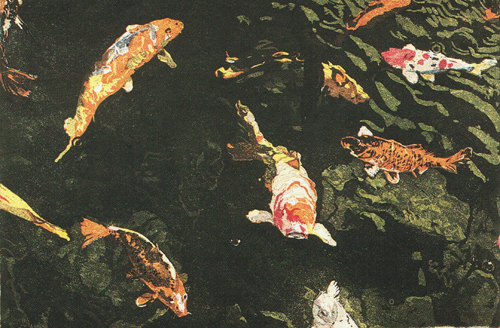 Teresa Zepeda  Beautiful Koi  intaglio/color aqautint