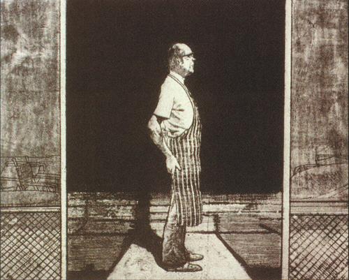 Harvey Breverman  Standing Figure in Profile  intaglio