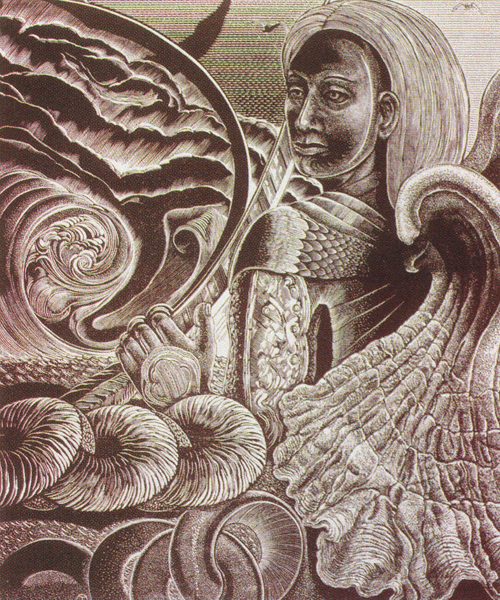 Judith Jaidinger  Though Art Weighed in the Balance  Wood engraving