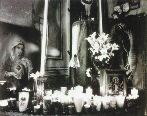 Billi Mercer  Candles for Mary, Jesus, & the Virgin Mary of Guadalupe  Silver gelatin photograph