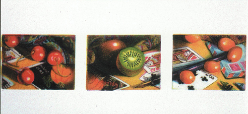 Mary Teichman  Cherries, Kiwi, Kumquats  color etching