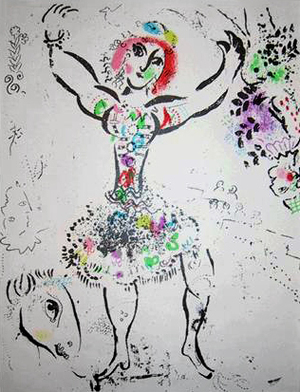 Marc Chagall   Jongleuse  color lithograph 11.5 x 9.25 inches